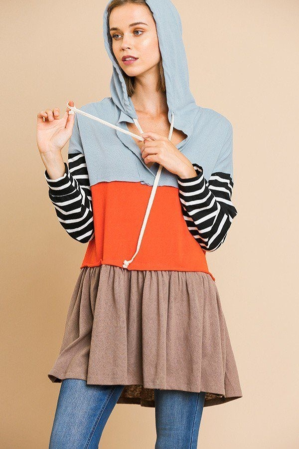 Striped long sleeve color blocked hooded tunic with drawstring and ruffle hem-id.cc39419