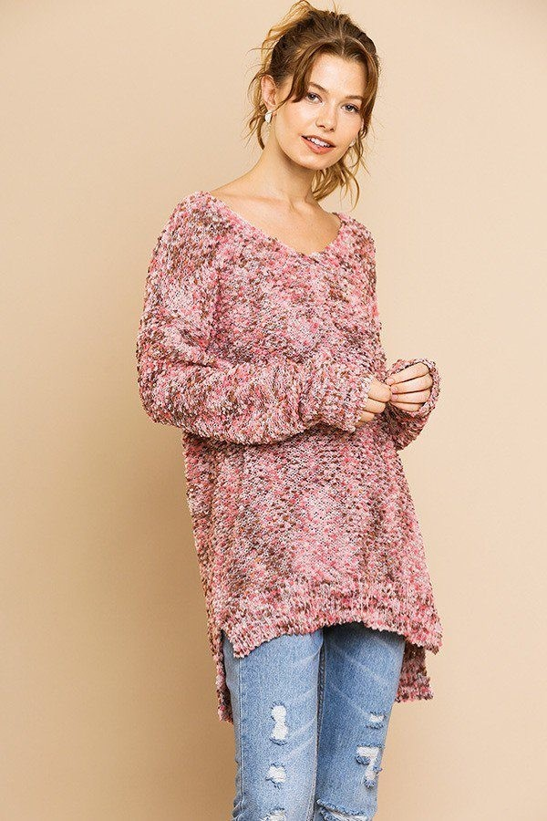 Multi color long sleeve v-neck soft knit pullover-id.cc39420