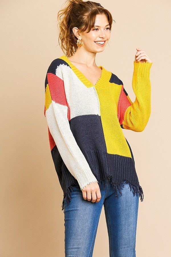 Color blocked long sleeve v-neck knit pullover sweater-id.cc39421
