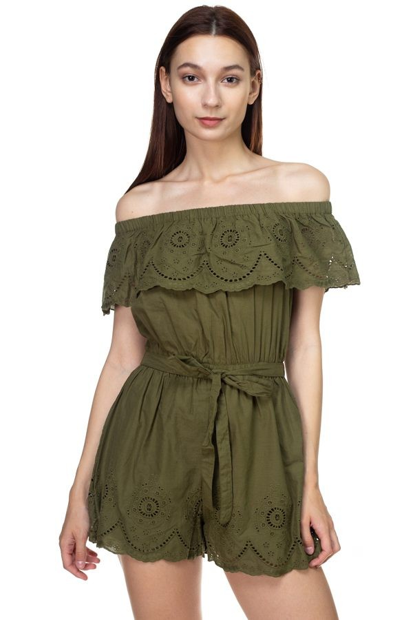 Off shoulder floral embroidered romper-id.cc39440a