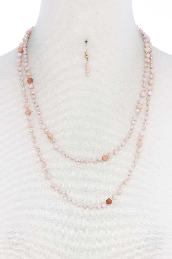 Beaded fashion long necklace and earring set-id.cc39455