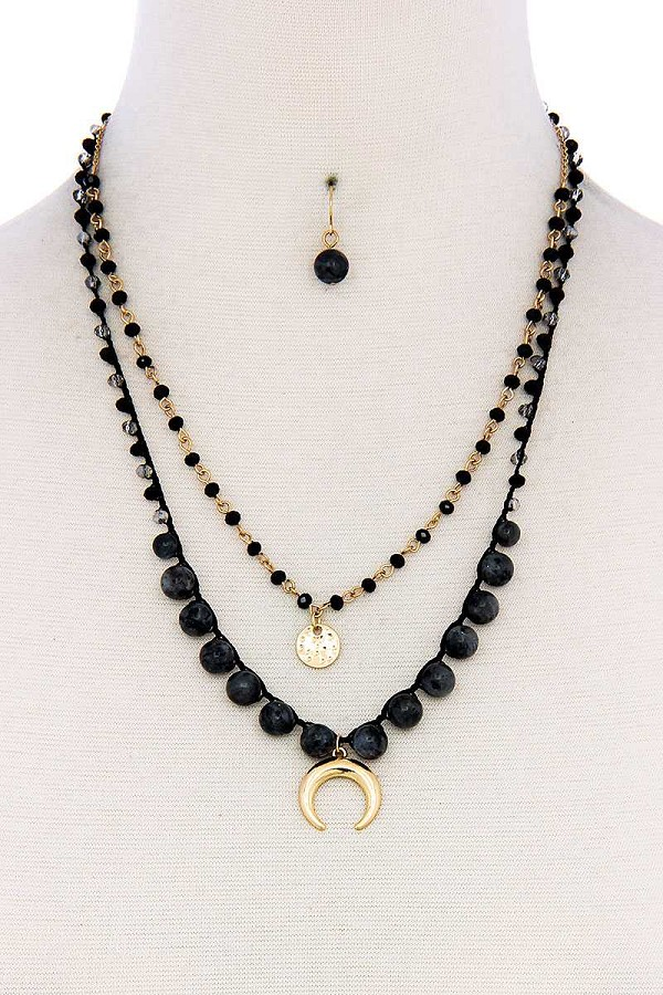 Double layer crescent moon pendant bead necklace and earring set-id.cc39459