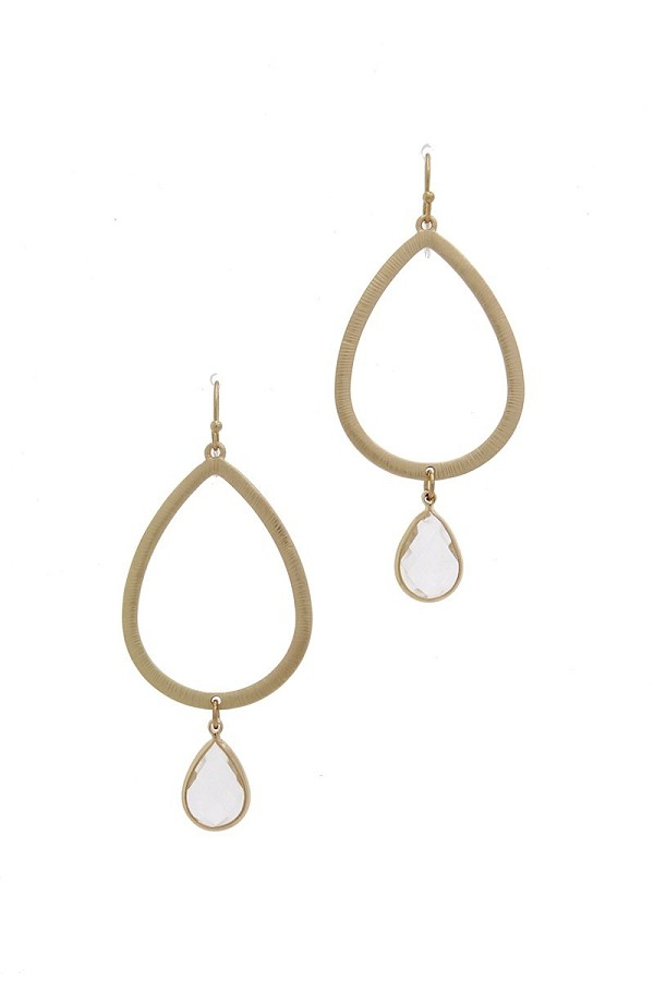 Textured metal cut out teardrop earring-id.cc39462