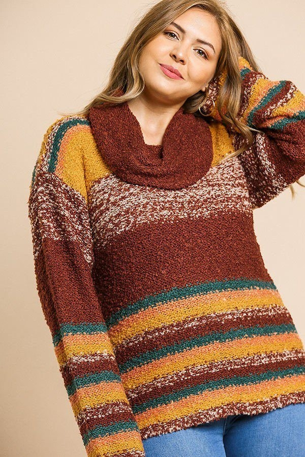 Multicolor striped fuzzy knit long sleeve pullover-id.cc39508b