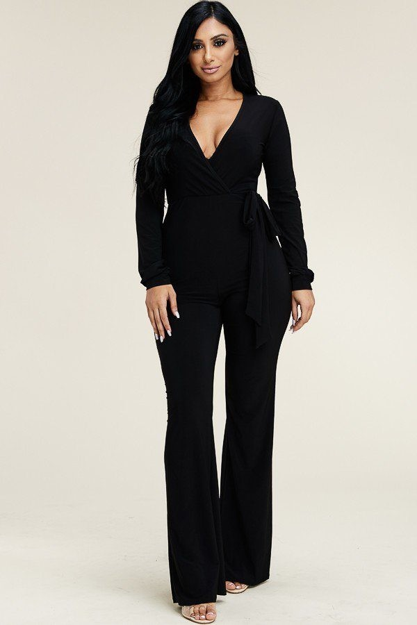 Solid long sleeve wide leg jumpsuit with tie waist-id.cc39513a