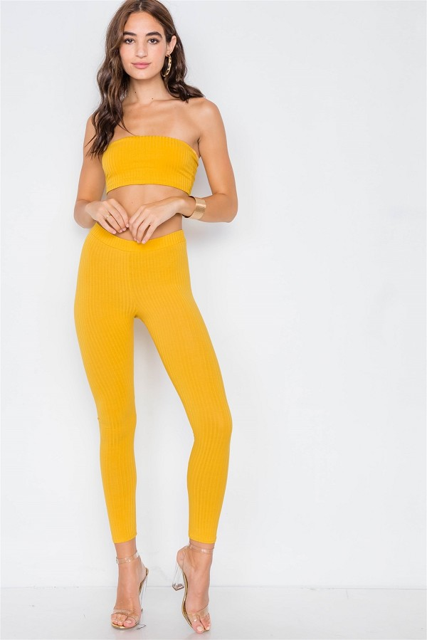 Ribbed crop tube top & ankle legging set-id.cc39565a