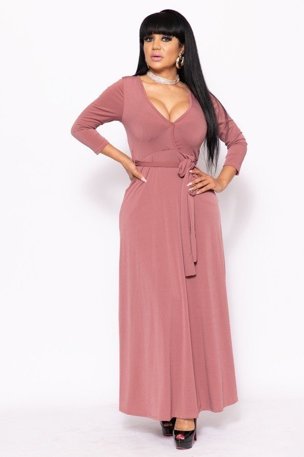 Elegant maxi dress with a waist tie-id.cc39573a
