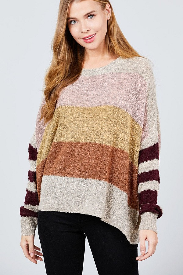 Long dolman sleeve round neck multi color block sweater-id.cc39591