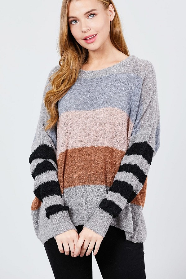 Long dolman sleeve round neck multi color block sweater-id.cc39591a