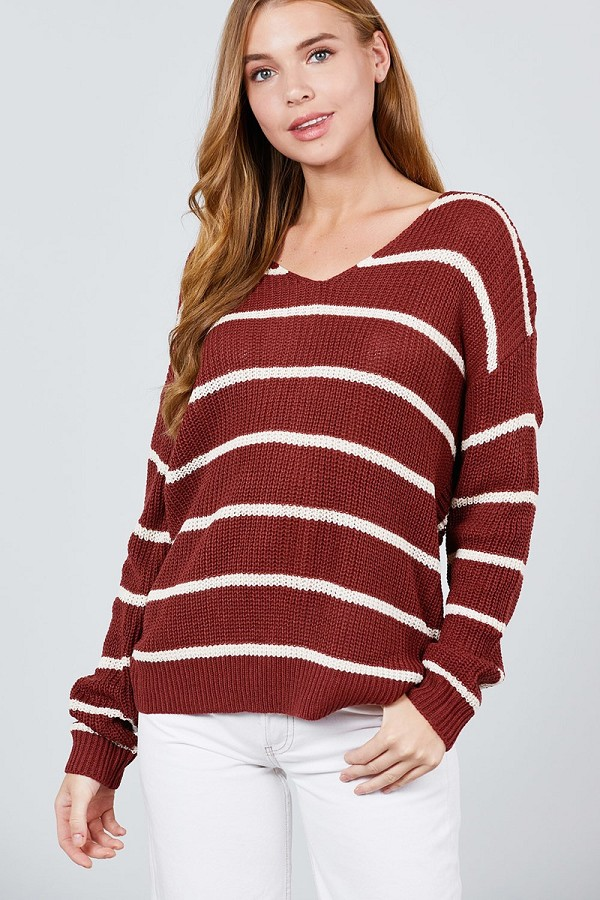 Long sleeve v-neck twist back stripe sweater top-id.cc39595b