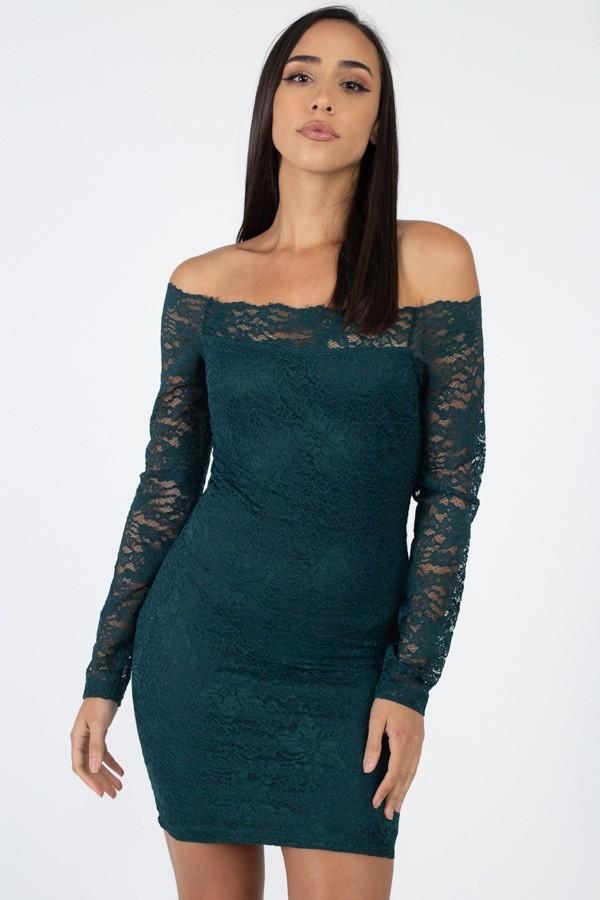 Floral Lace Off Shoulder Dress Idcc39633b
