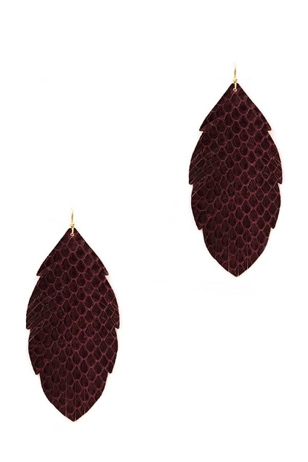 Trendy genuine leather animal skin textured leaf drop earring-id.cc39648