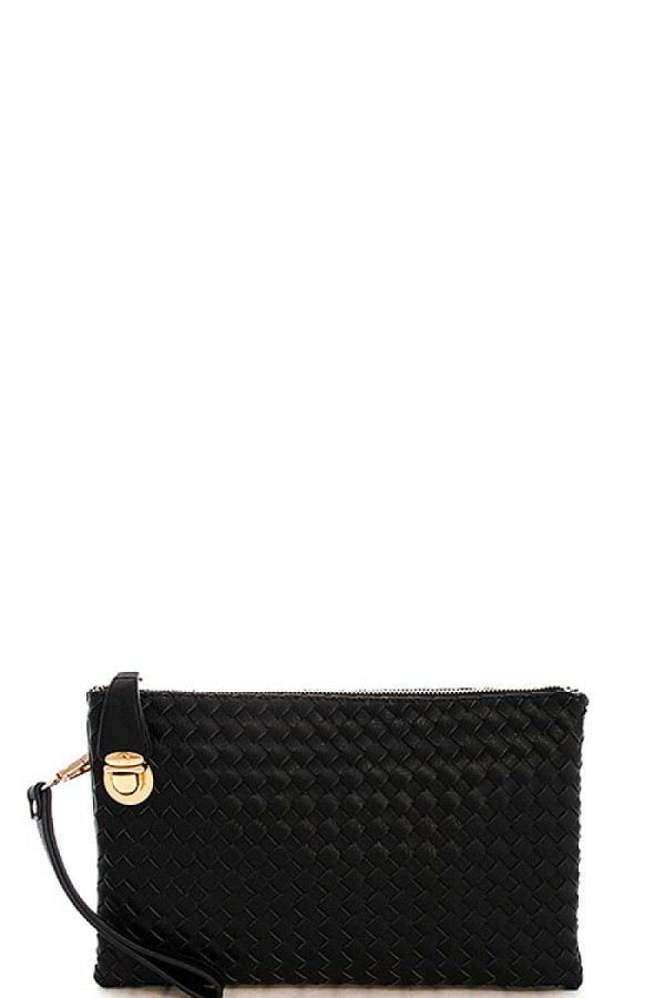 Fashion cute trendy woven clutch crossbody bag with two straps-id.cc39656