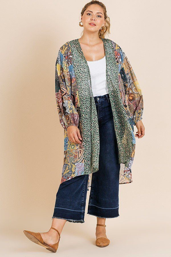 Sheer animal scarf mixed print long puff sleeve open front long kimono-id.cc39671