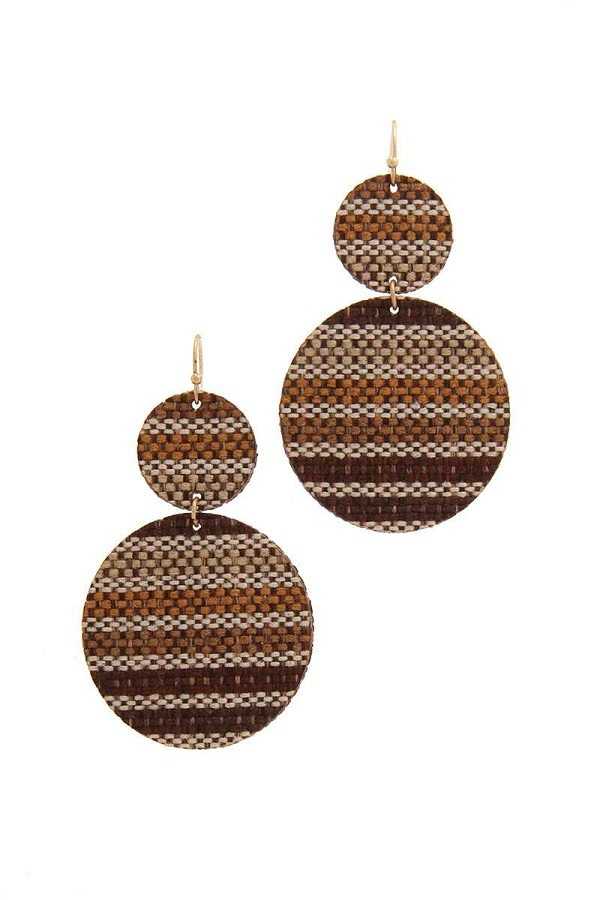 Double circle fabric drop earring-id.cc39688