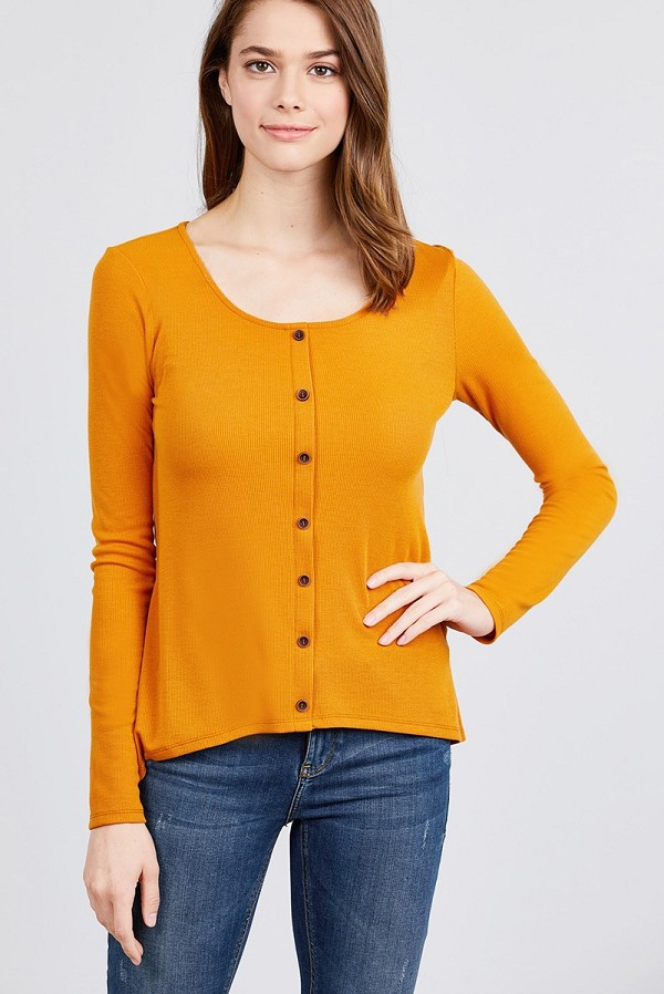 Long sleeve round neck button detail rib knit top-id.cc39728