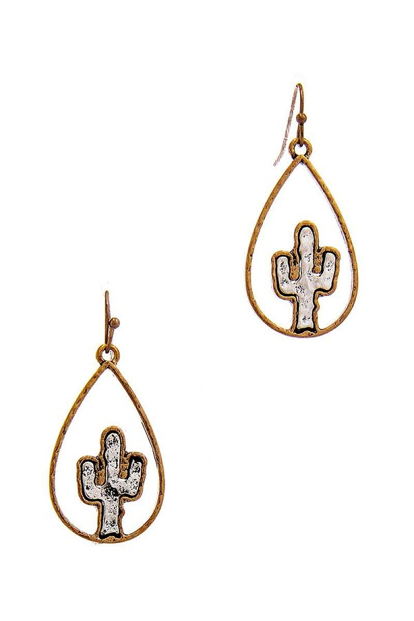 Two tone tear drop out lined cactus dangle earring-id.cc39753