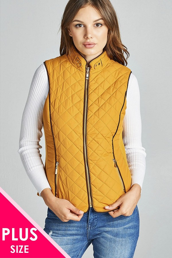 Faux shearling lined quilted padding vest-id.cc39826b