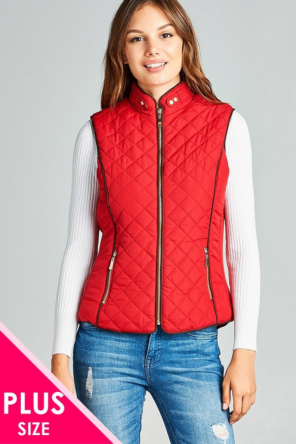 Faux shearling lined quilted padding vest-id.cc39826e