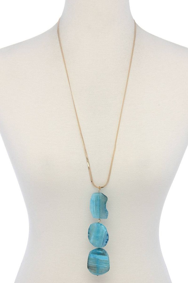 Natural stone flat snake chain necklace-id.cc39839