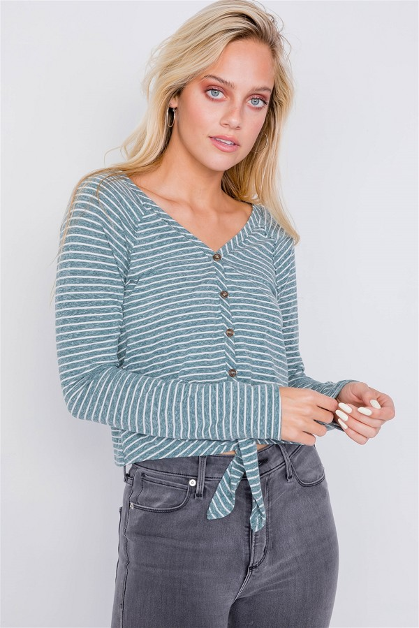 Washed cotton front tie crop top-id.cc39918a