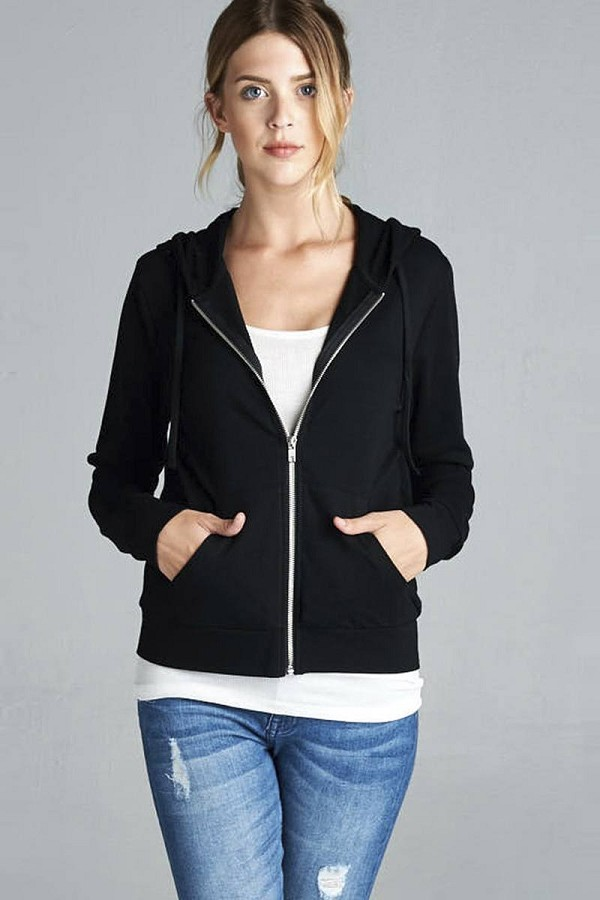 Long sleeve zipper french terry jacket w/ kangaroo pocket-id.cc39930