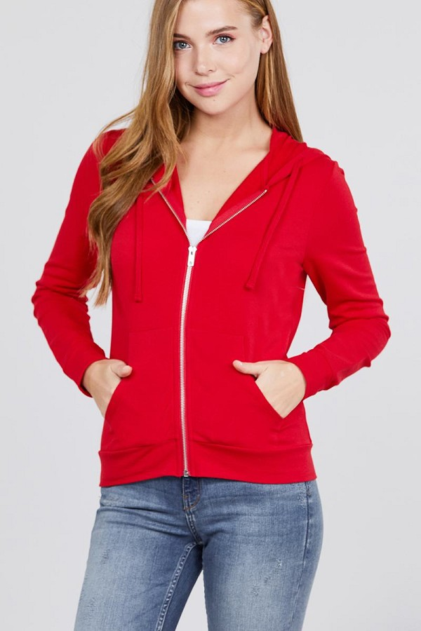 Long sleeve zipper french terry jacket w/ kangaroo pocket-id.cc39930l