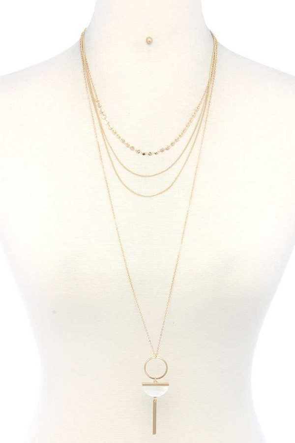 Metal layered necklace-id.cc39936