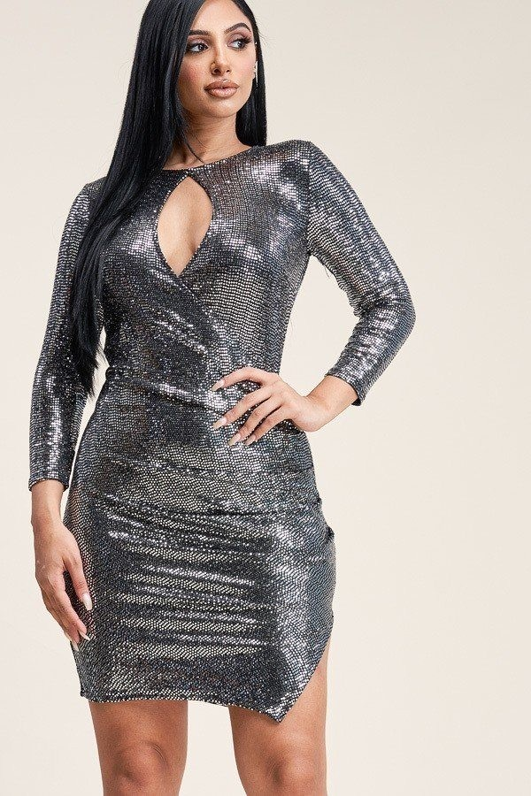 Solid metallic trans 3/4 sleeve dress-id.cc39977b