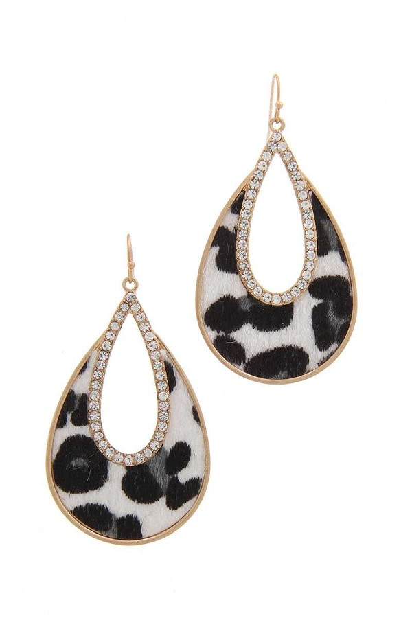 Rhinestone animal print drop earring-id.cc39999