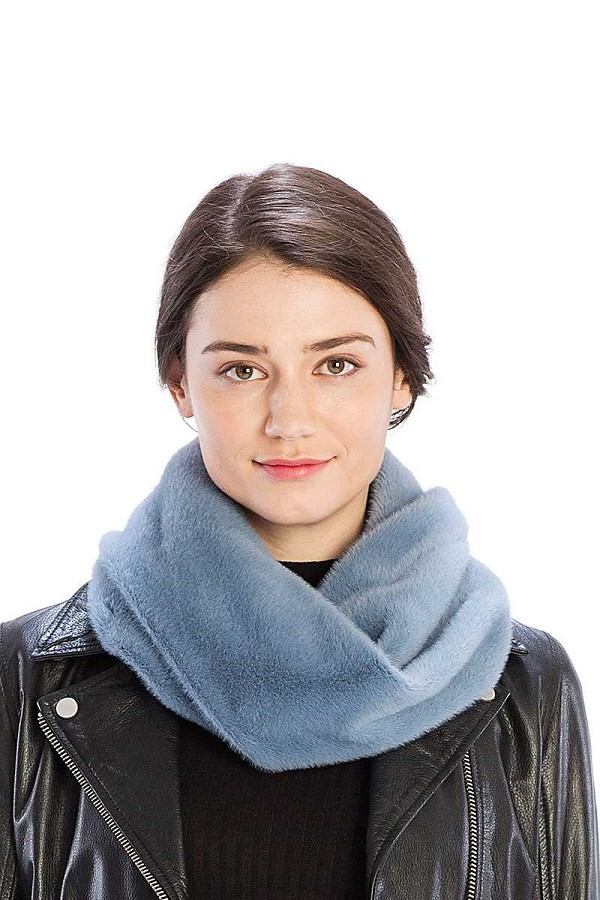 Solid color faux mink fur infinity scarf-id.cc40002