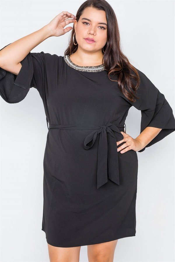 Plus size black beaded neckline mini dress-id.cc40011
