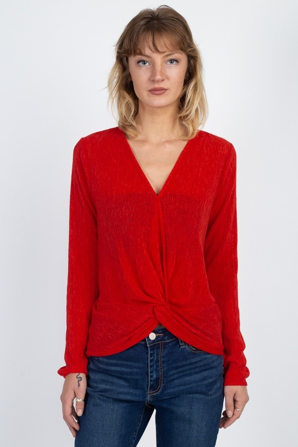 Twist hem brushed knit top-id.cc40022b