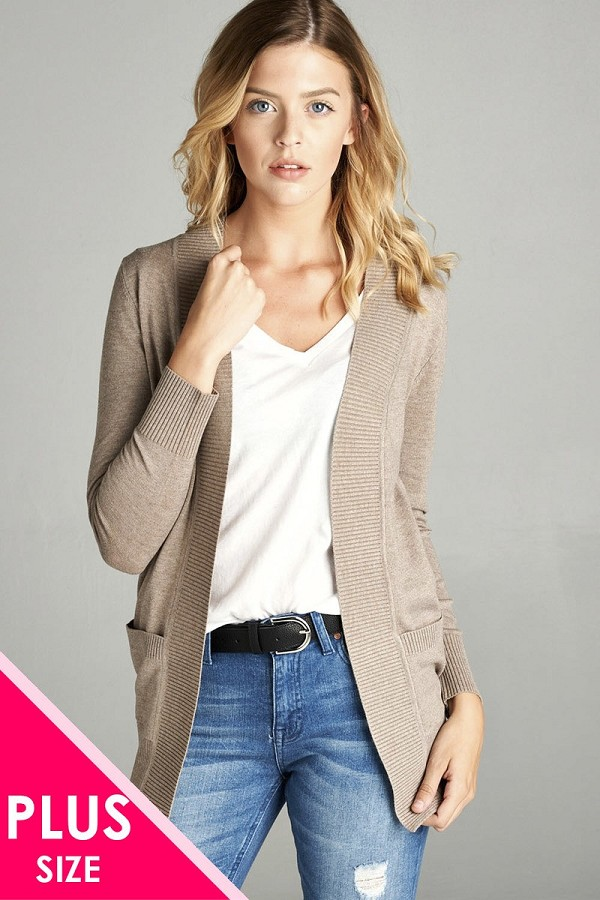 Long sleeve rib banded open sweater cardigan w/pockets-id.cc40027g
