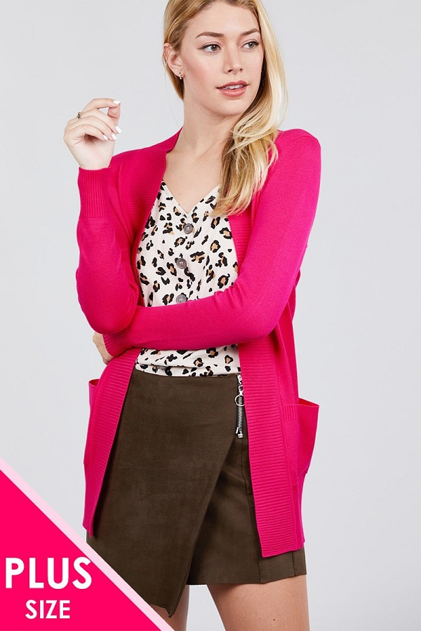 Long sleeve rib banded open sweater cardigan w/pockets-id.cc40027h
