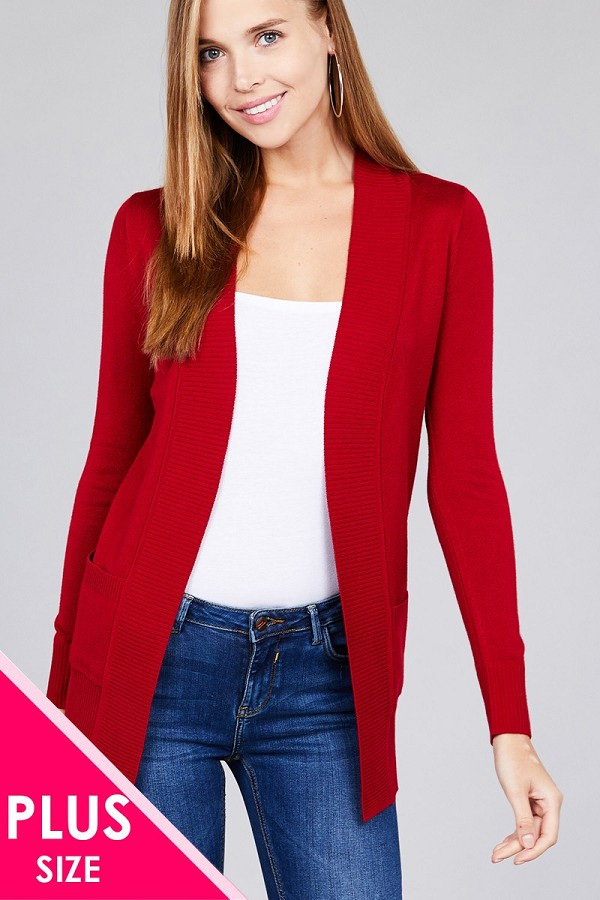 Long sleeve rib banded open sweater cardigan w/pockets-id.cc40027n