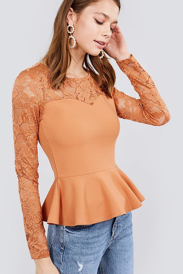 Long sleeve round neck lace detail peplum knit top-id.cc40029b