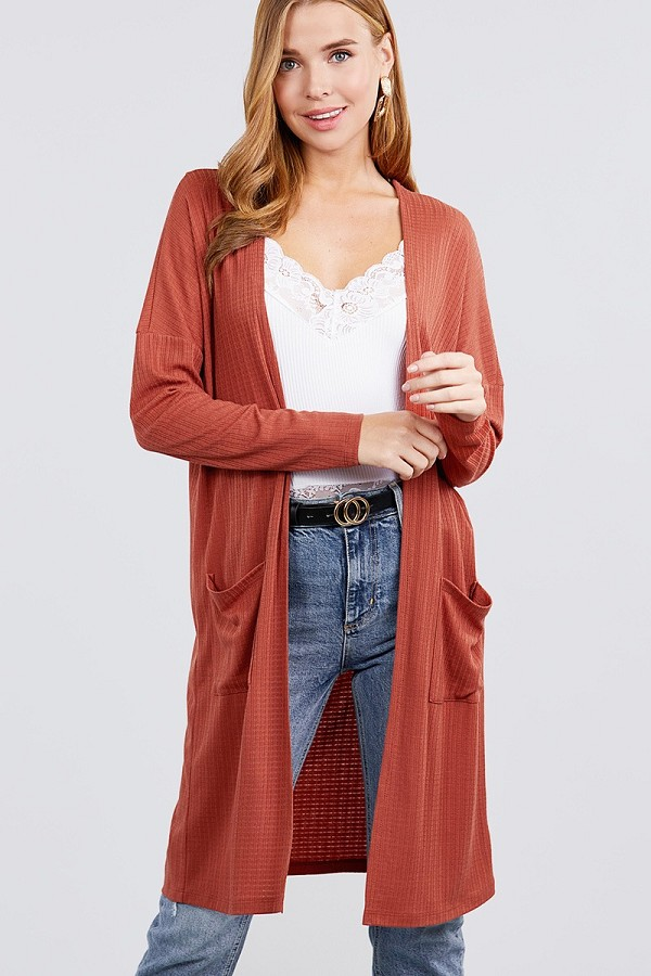 Long dolman sleeve open front w/pocket pointelle rib long cardigan-id.cc40030d