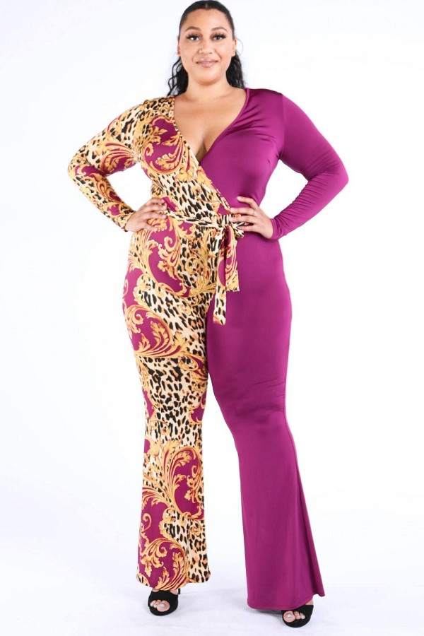 Leopard paisley printed color blocked jumpsuit-id.cc40064a
