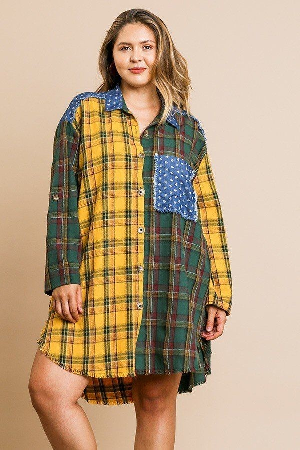 Plaid mixed print long roll up sleeve collared button front dress-id.cc40069