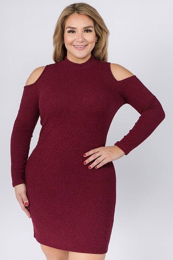 Embellished solid rib knit cold shoulder long sleeve dress-id.cc40071