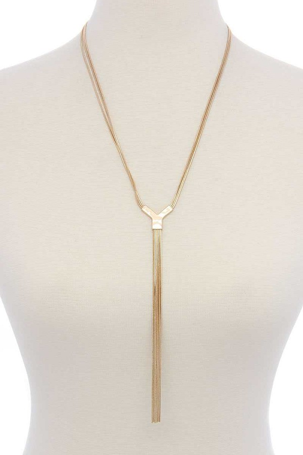 Snake chain y-shape long necklace-id.cc40076