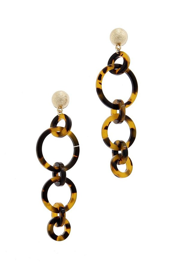 Multi resin round chain fashion earring-id.cc40084