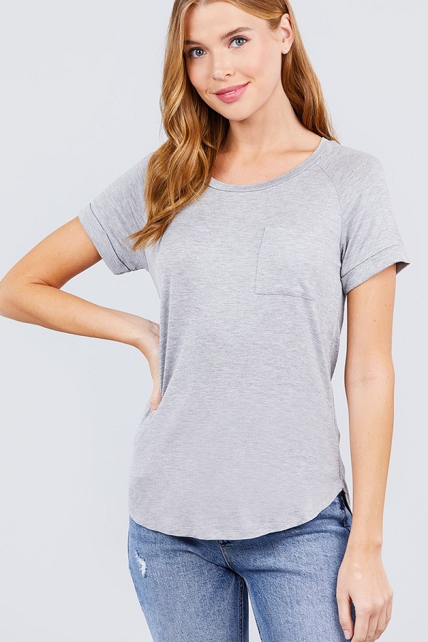 Short raglan sleeve round neck w/pocket rayon spandex top-id.cc40117c