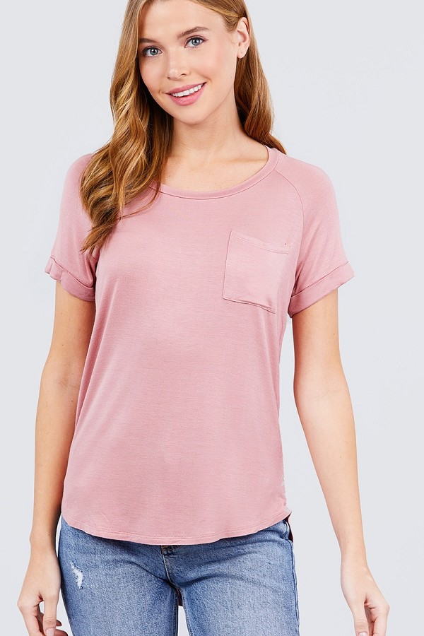 Short raglan sleeve round neck w/pocket rayon spandex top-id.cc40117f