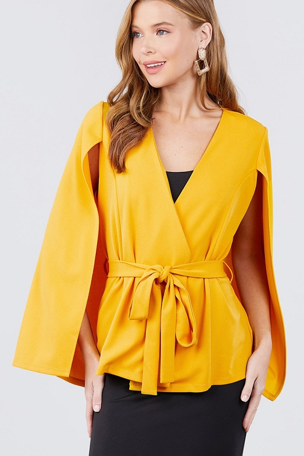 Open peaked front w/belt detail cape jacket-id.cc40119