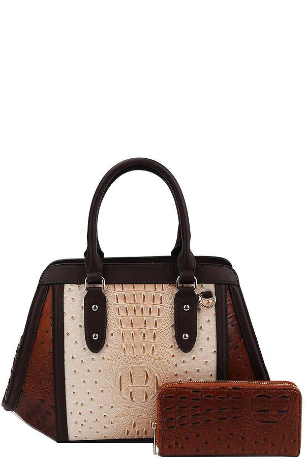 2in1 two tone croco pattern satchel with matching wallet-id.cc40152