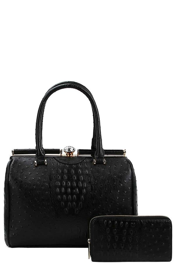 Stylish croco pattern structured doctor bag with matching wallet-id.cc40154