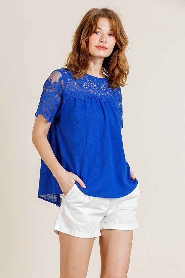Sheer floral short sleeve lace yoke keyhole top-id.cc40163