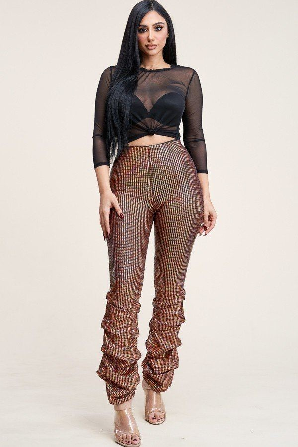 3/4 sleeve power mesh top and holographic stacked pants-id.cc40167